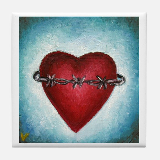 Barb Wire Heart Tile Coaster