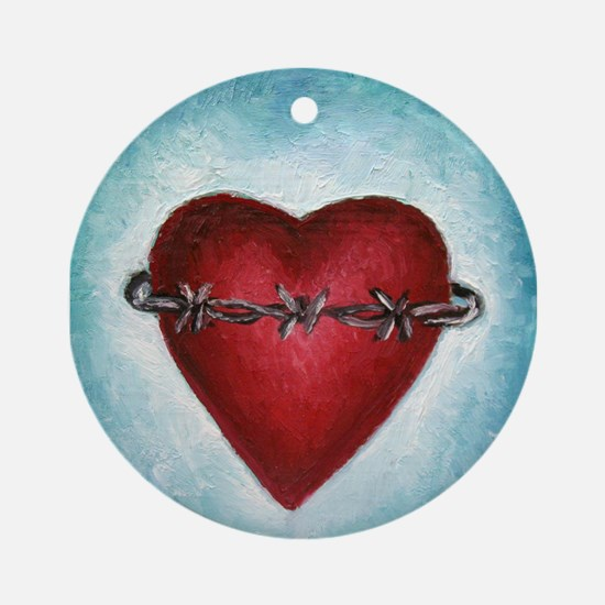 Barb Wire Heart Ornament (Round)