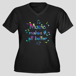 Music Women's Plus Size V-Neck Dark T-Shirt