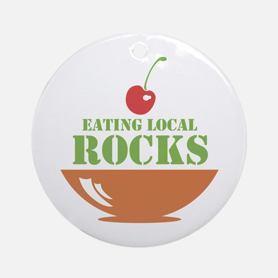 Eating Local Rocks Ornament (Round)