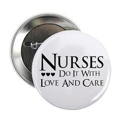 "Black and White Nurses Care 2.25"" Button (100"