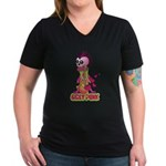Girly Punk Rock Skull Women's V-Neck Dark T-Shirt