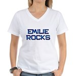 emilie rocks Women's V-Neck T-Shirt