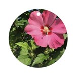 Pink Hibiscus Tropical Flower Round Ornament