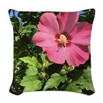 Pink Hibiscus Tropical Flower Woven Throw Pillow