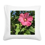 Pink Hibiscus Tropical Flower Square Canvas Pillow