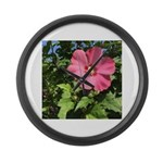 Pink Hibiscus Tropical Flower Large Wall Clock