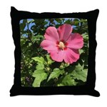 Pink Hibiscus Tropical Flower Throw Pillow