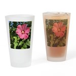 Pink Hibiscus Tropical Flower Drinking Glass