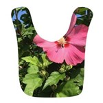 Pink Hibiscus Tropical Flower Polyester Baby Bib