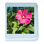 Pink Hibiscus Tropical Flower baby blanket