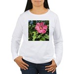 Pink Hibiscus Tropical Flower Long Sleeve T-Shirt
