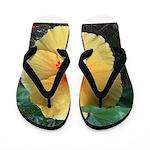 Yellow Hibiscus Tropical Flower Flip Flops