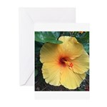 Yellow Hibiscus Tropical Flower Greeting Cards