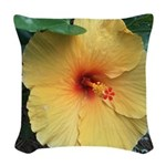 Yellow Hibiscus Tropical Flower Woven Throw Pillow