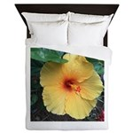 Yellow Hibiscus Tropical Flower Queen Duvet