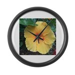 Yellow Hibiscus Tropical Flower Large Wall Clock