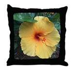 Yellow Hibiscus Tropical Flower Throw Pillow