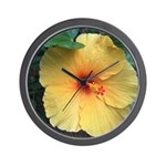 Yellow Hibiscus Tropical Flower Wall Clock