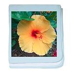Yellow Hibiscus Tropical Flower baby blanket