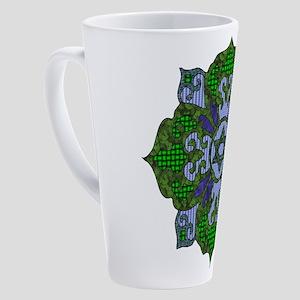 Green Hanukkah Mandala 17 oz Latte Mug