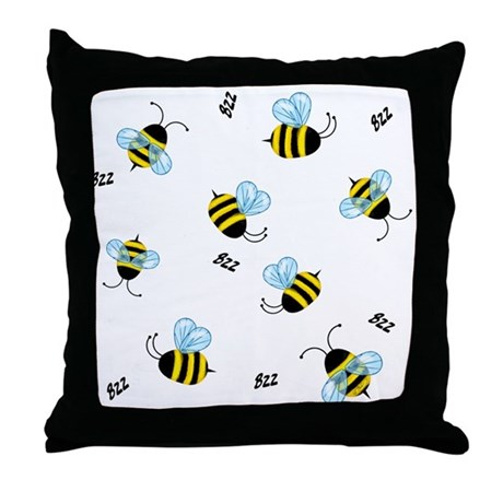 Buzzing Bees Throw Pillow
