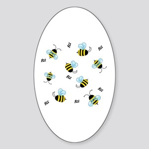 Bees Oval Sticker