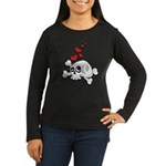 Skull and Hearts Women's Long Sleeve Dark T-Shirt