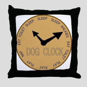 dog clock Throw Pillow