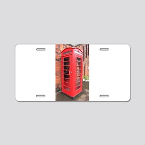 red phone call box london Aluminum License Plate