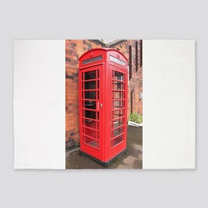 red phone call box london 5'x7'Area Rug