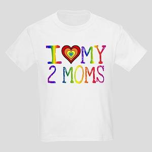I <3 My 2 Moms Kids Light T-Shirt