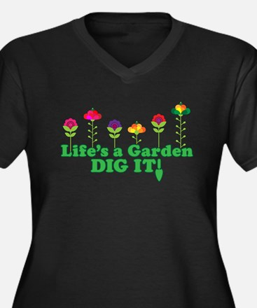 Life's A Garden Dig it Women's Plus Size V-Neck Da