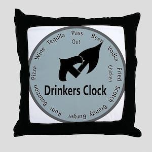 drinkers clock Throw Pillow