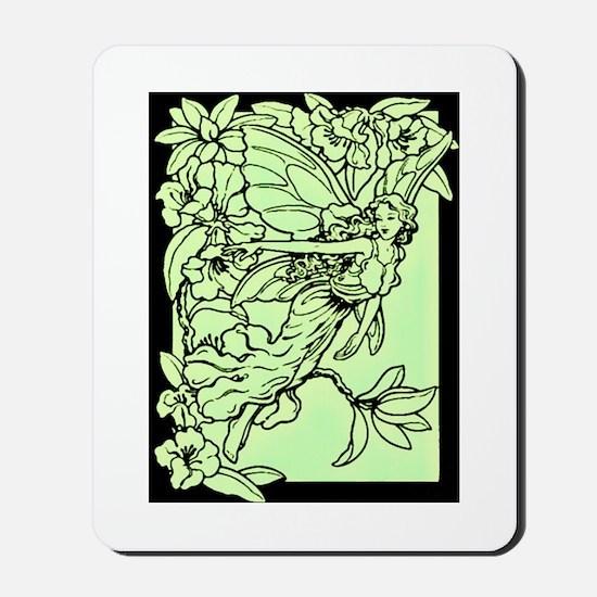 Art Nouveau Green Faerie Mousepad