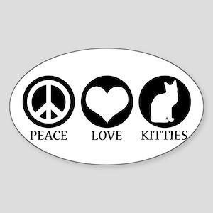 PEACE LOVE KITTIES Oval Sticker