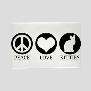 PEACE LOVE KITTIES Rectangle Magnet