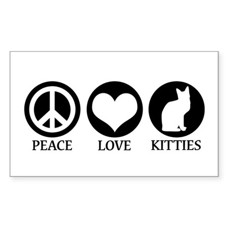 PEACE LOVE KITTIES Rectangle Sticker