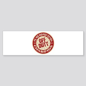 Off Duty Pi Memorization Champion Bumper Sticker