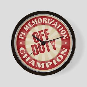 Off Duty Pi Memorization Champion Wall Clock