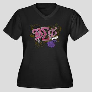 Beta Sigma Phi Women's Plus Size V-Neck Dark Tee