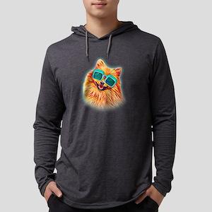 Pomeranian Neon Dog Sunglasses Long Sleeve T-Shirt