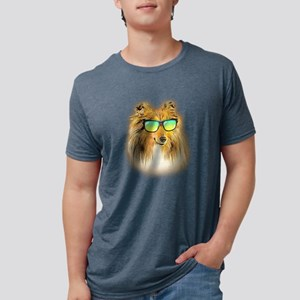 Shetland Sheepdog Neon Dog Sunglasses T-Shirt