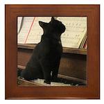 Piano Kitty Framed Tile