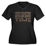 Enough Time2 Women's Plus Size V-Neck Dark T-Shirt