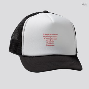 Eisenhower quote Kids Trucker hat