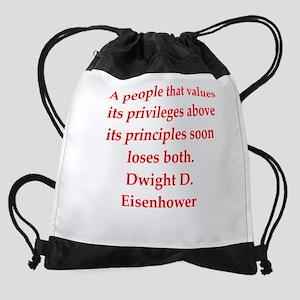 Eisenhower quote Drawstring Bag