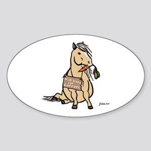 Funny Horse Oval Sticker