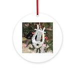 Christmas Tree Kitten Round Ornament