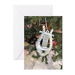 Christmas Tree Kitten Greeting Cards